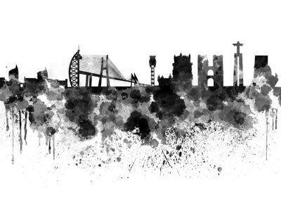 Canvastavlor Lissabon skyline i svart vattenfärg bakgrund