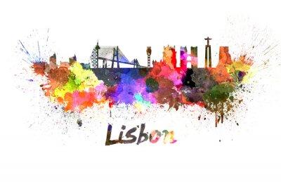 Canvastavlor Lissabon skyline i vattenfärg