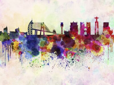 Canvastavlor Lissabon skyline i vattenfärg bakgrund