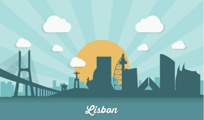 Canvastavlor Lissabon skyline - platt design
