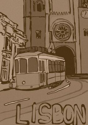 Canvastavlor Lissabon tappning