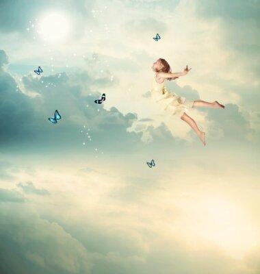 Canvastavlor Liten flicka Flying på skymningen