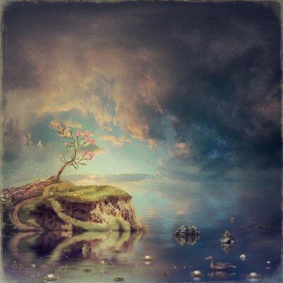 Canvastavlor Liten ö med ett träd av sakura på floden