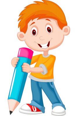 Canvastavlor Liten pojke med penna