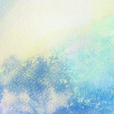Canvastavlor Ljus abstrakt blå målade vattenfärg stänk bakgrund
