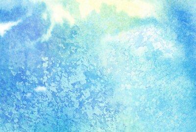 Canvastavlor Ljus abstrakt blå målade vattenfärg stänk eller moln, sky