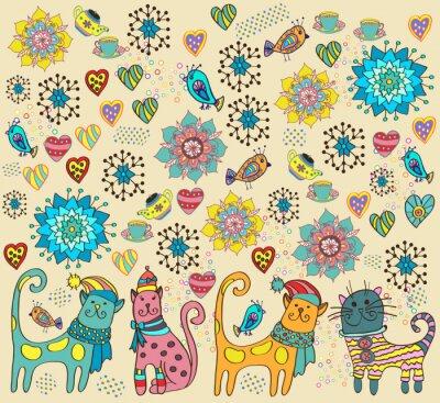 Canvastavlor Ljus bakgrund med katter, blommor och hjärtan