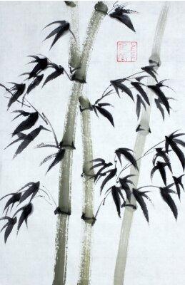 Canvastavlor Ljusa bambu träd