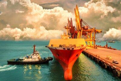 Canvastavlor Logistik och transport av International Container Cargo Ship med hamnkranbro i hamn och kvällshimmel för logistisk import exportbakgrund och transportindustri.