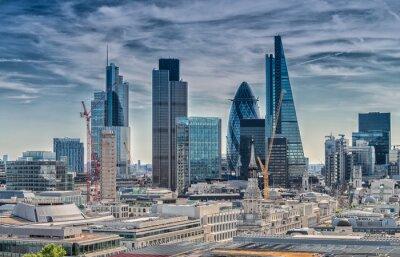 Canvastavlor London City. Modern horisont av affärsdistrikt