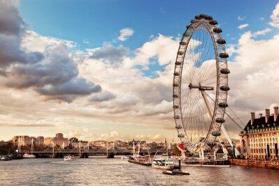 Canvastavlor London, England Storbritannien silhuett. Themsen