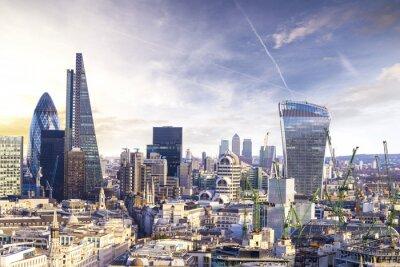 Canvastavlor London solnedgång, visa på affärs modern stadsdel