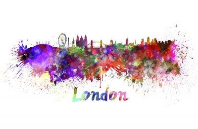 Canvastavlor Londons silhuett i vattenfärg
