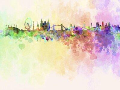 Canvastavlor Londons silhuett i vattenfärg bakgrund