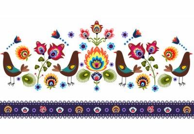 Canvastavlor Ludowy wzór z ptakami