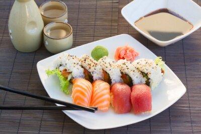 Canvastavlor lunch med sushi maträtt