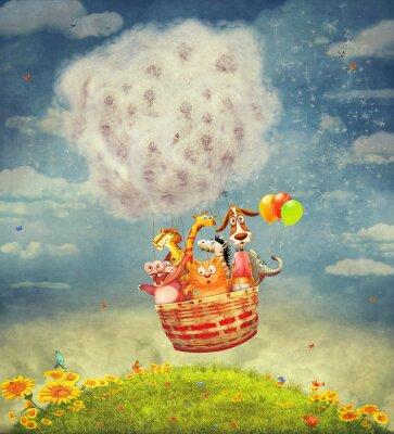 Canvastavlor Lyckliga djur i luftballong i skyn - illustrationskonst