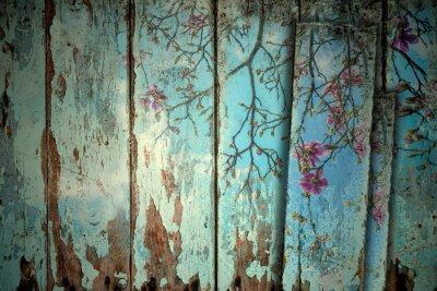 Canvastavlor Magnolia på våren gamla bakgrund