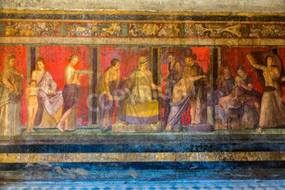 Canvastavlor Målad vägg i Pompeji staden förstördes i 79BC av vulkanen Vesuvius