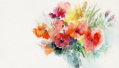 Canvastavlor målad vallmo papper