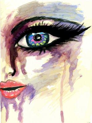 Canvastavlor Målade stiliserade Face