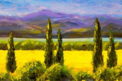 Canvastavlor Måleri Italienska Toscana Cypresser Landskapsfält Berg Buskar Horisontell Konst