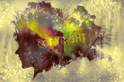 Canvastavlor Målning av dubbel exponeringskoncept med damporträtt silhuett och kvinna i skogen