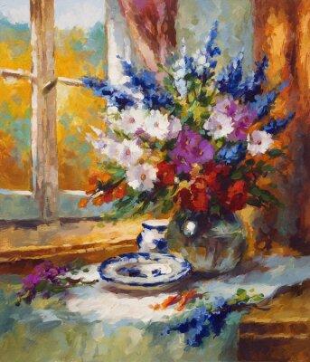 Canvastavlor målning, blomma, färgrikt motiv