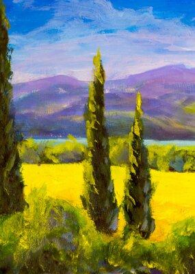 Canvastavlor Målning italienska tuscany cypresser landskapsfält berg buskar vertikalt