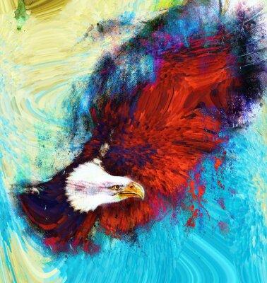 Canvastavlor målning örn på en abstrakt bakgrund, USA symboler Frihet