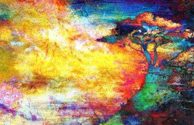 Canvastavlor Målning solnedgång, hav och träd, tapet landskap, färg collage