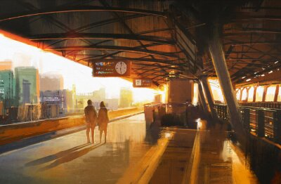 Canvastavlor målning visar par väntar ett tåg på stationen
