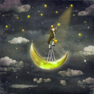 Canvastavlor Man drar stjärnorna på toppen av hög stege i mörka himlen