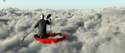 Canvastavlor Man paddling genom molnen i en uppåt paraply