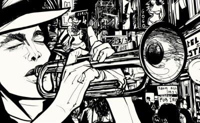 Canvastavlor man spelar trumpet i en red light district