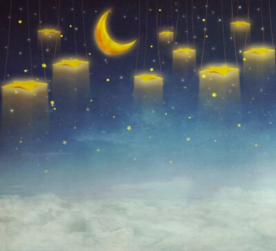 Canvastavlor Månen och stjärnorna på repet på natthimlen