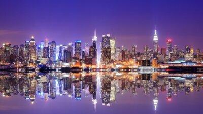 Canvastavlor Manhattan horisont med Reflections