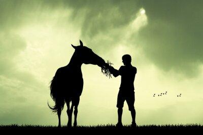 Canvastavlor människa och häst vid solnedgången