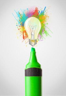 Canvastavlor Marker närbild med färgade färgstänk och glödlampa