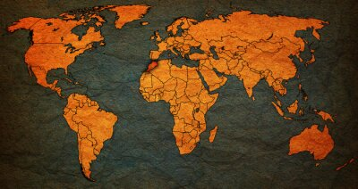Canvastavlor Marocko territorium på världskartan