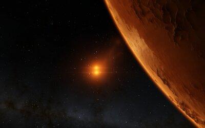 Canvastavlor Mars Scientific illustration - planetlandskap