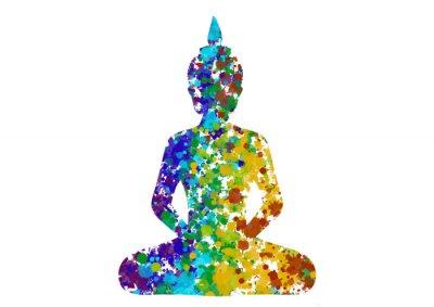 Canvastavlor Meditera Buddha hållning i regnbågens färger