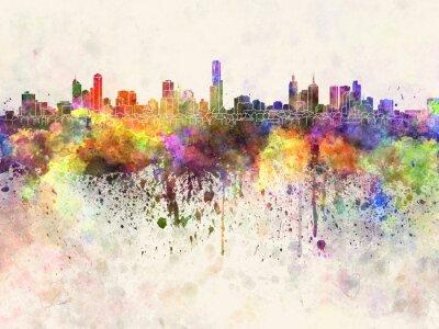 Canvastavlor Melbourne skyline i vattenfärg bakgrund