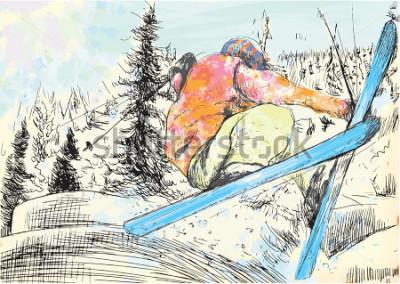 Canvastavlor Mellansemester - skidåkare. Vector flera lager räcke illustrationer. Minst fyra ski i varje bild. Färgskikten är sexton färger. Svarta konturer i ett speciellt toppskikt.