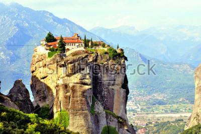 Canvastavlor Meteora Monastery Som Ligger Norr Om Grekland I Regioner Thessalien