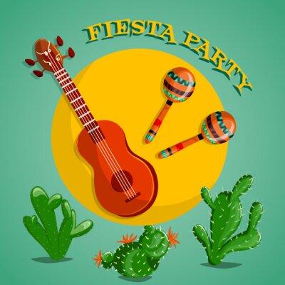 Canvastavlor Mexican Fiesta Party affisch med maracas, mexikanska gitarr och kaktusar. Flygblad eller gratulationskort. vektor