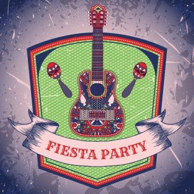 Canvastavlor Mexican Fiesta Party etikett med maracas och mexikanska gitarr .Hand dras vektor illustration affisch med grungebakgrund. Flygblad eller gratulationskort mall