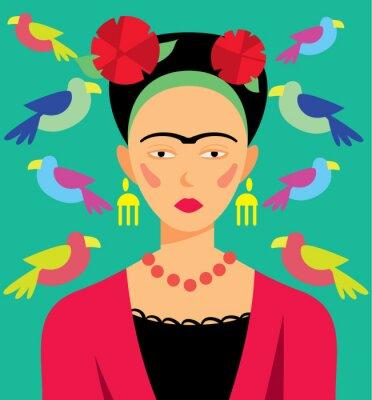 Canvastavlor Mexikansk kvinna i smink, vektor illustration. Seriefigurer.