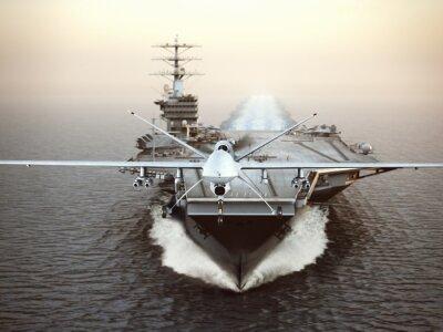 Canvastavlor Militära Drone flygplan starta från ett hangarfartyg på en strejk uppdrag. 3D-rendering