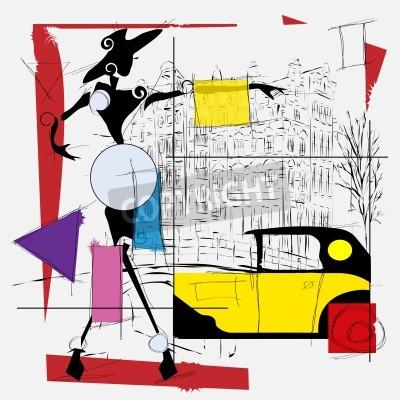 Canvastavlor mode flicka kubismen illustration modern
